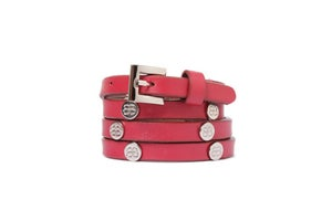 Image of Red Leather Beltlett with Silver Logo Studs