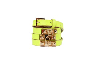 Image of Neon Yellow Leather Beltlett with Double Pyramid Studs