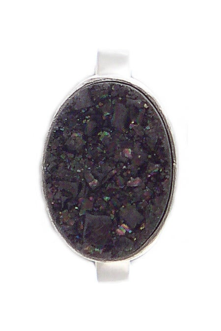 Image of Black Druzy Oval Ring