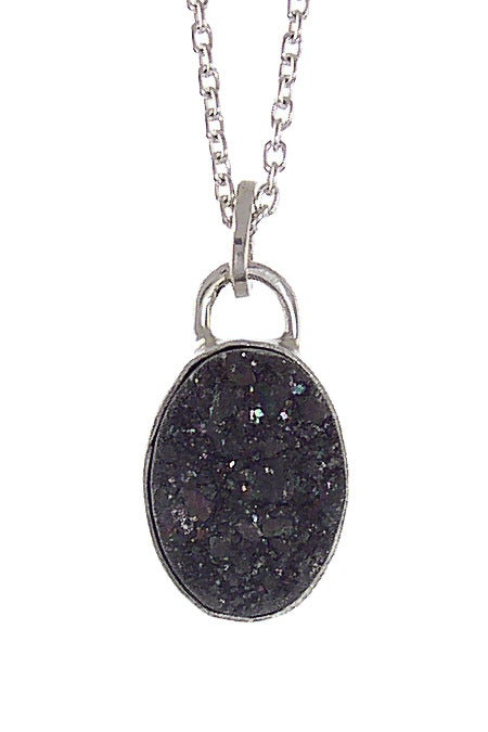 Image of Black Druzy Oval Necklace
