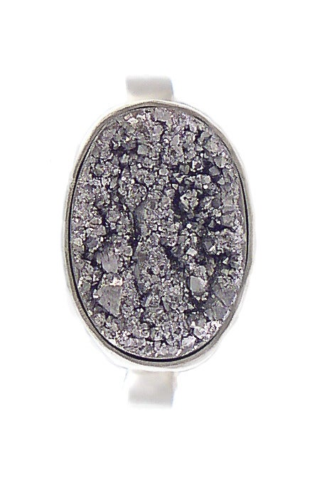Image of Silver Druzy Oval Ring