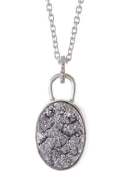 Image of Silver Druzy Oval Necklace