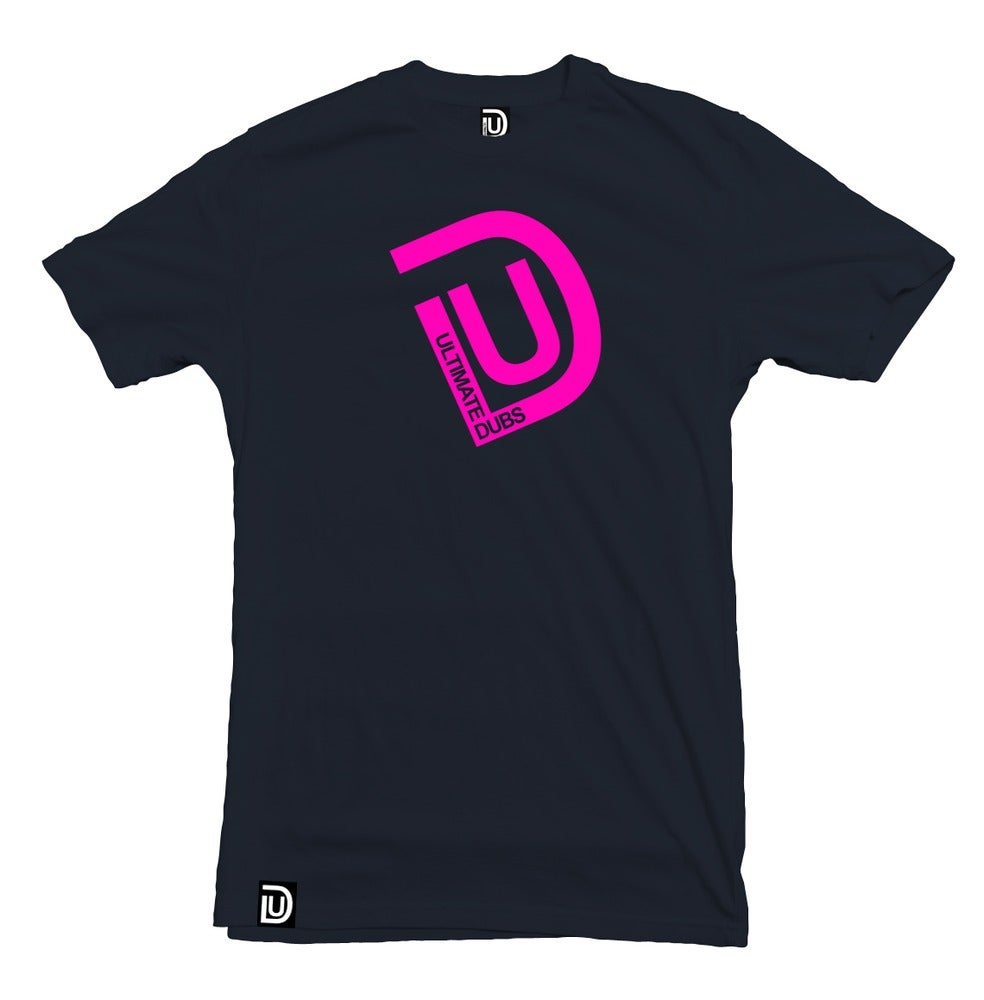 Image of Men's Ultimate Dubs - UD Logo T-Shirt - Navy Blue with Pink Logo