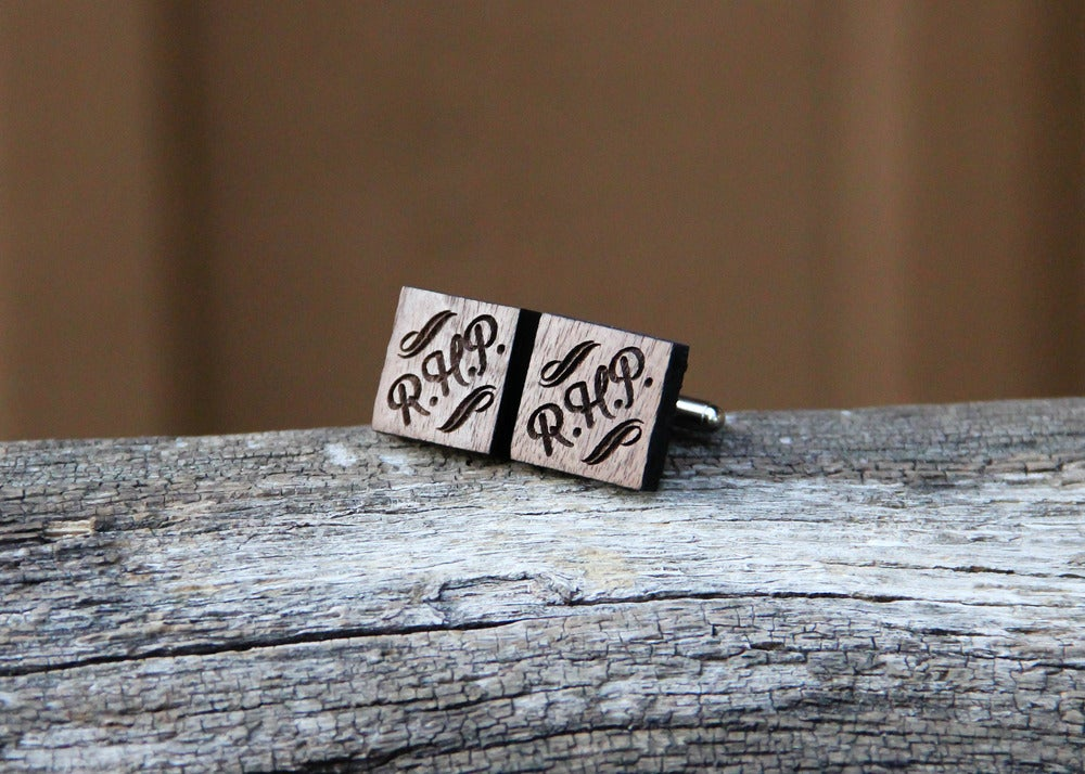 Image of Personalized Men's Walnut Cufflinks