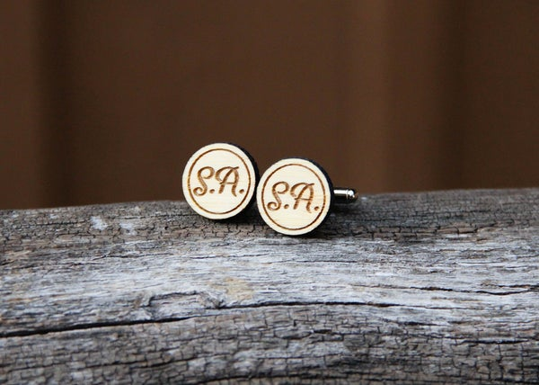 Image of Personalized Men's Bamboo Wood Cufflinks