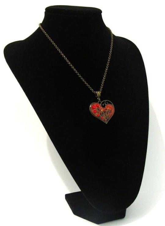 Ruby Rocks Lazy Heart Bronze Pendant