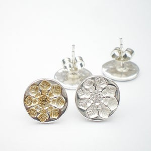 Image of Small Silver Snowflake Earrings