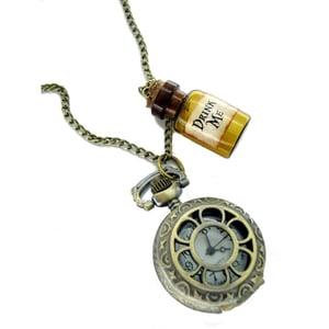 Image of Alice in Wonderland D Bottle Watch Necklace