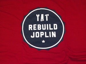 Image of Rebuild Joplin Tee-Red and Blue Crew Neck