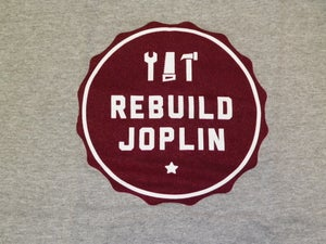 Image of Rebuild Joplin Tee-Gray with Red Logo