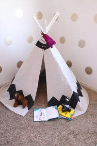 Image of Hand Painted Chevron Teepee-BLACK