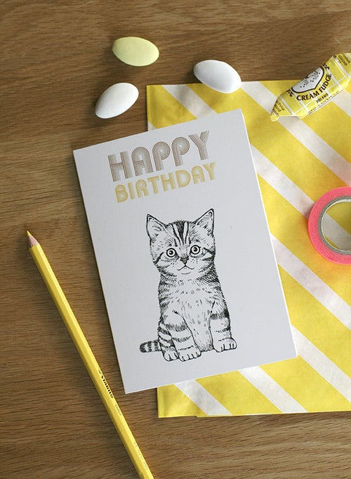 Image of Carte postale double Happy Birthday Chat