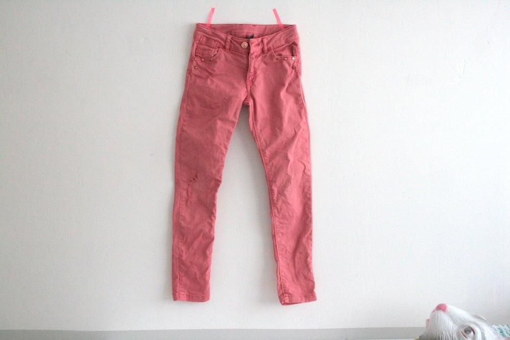 "Image of jean rose et pantalon turquoise ""ZARA"""