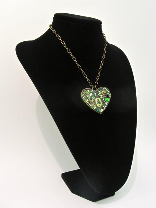 Absinthe Rocks Large Heart Bronze Pendant  * ON SALE - Was £75 now £38 *