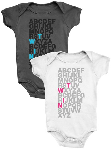 Image of TWIN ABC's - Bodysuits in Dark Gray & White