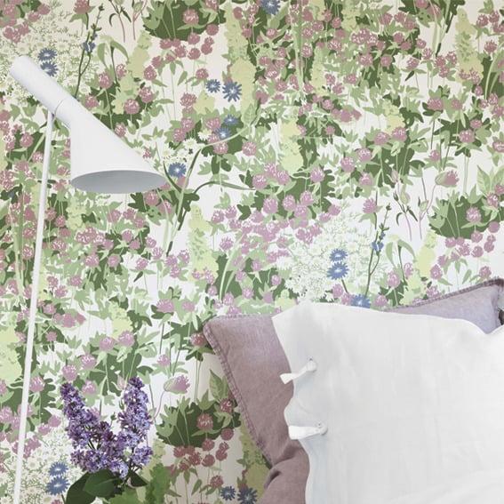 Image of Papel pintado Scandinavian designers by Arne Jacobsen flores