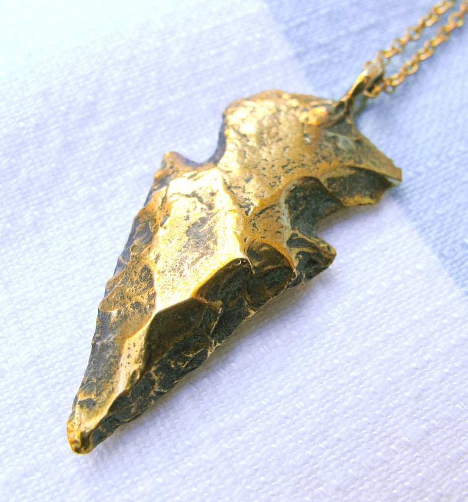 Image of Solid Brass Arrowhead Necklace
