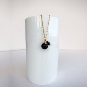 Image of Gold Flower Black Bead Necklace