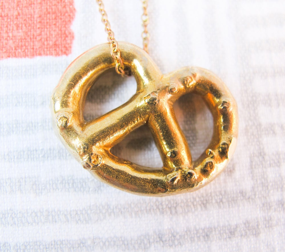 Image of Solid Brass Pretzel Necklace