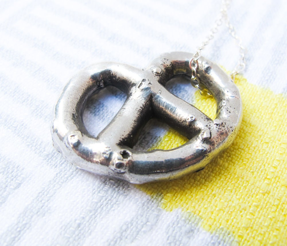 Image of Solid Sterling Silver Pretzel Necklace