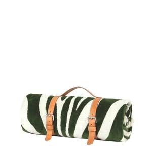 Image of Foliage Green Zebra Hide Beach Towel - Classic Strap