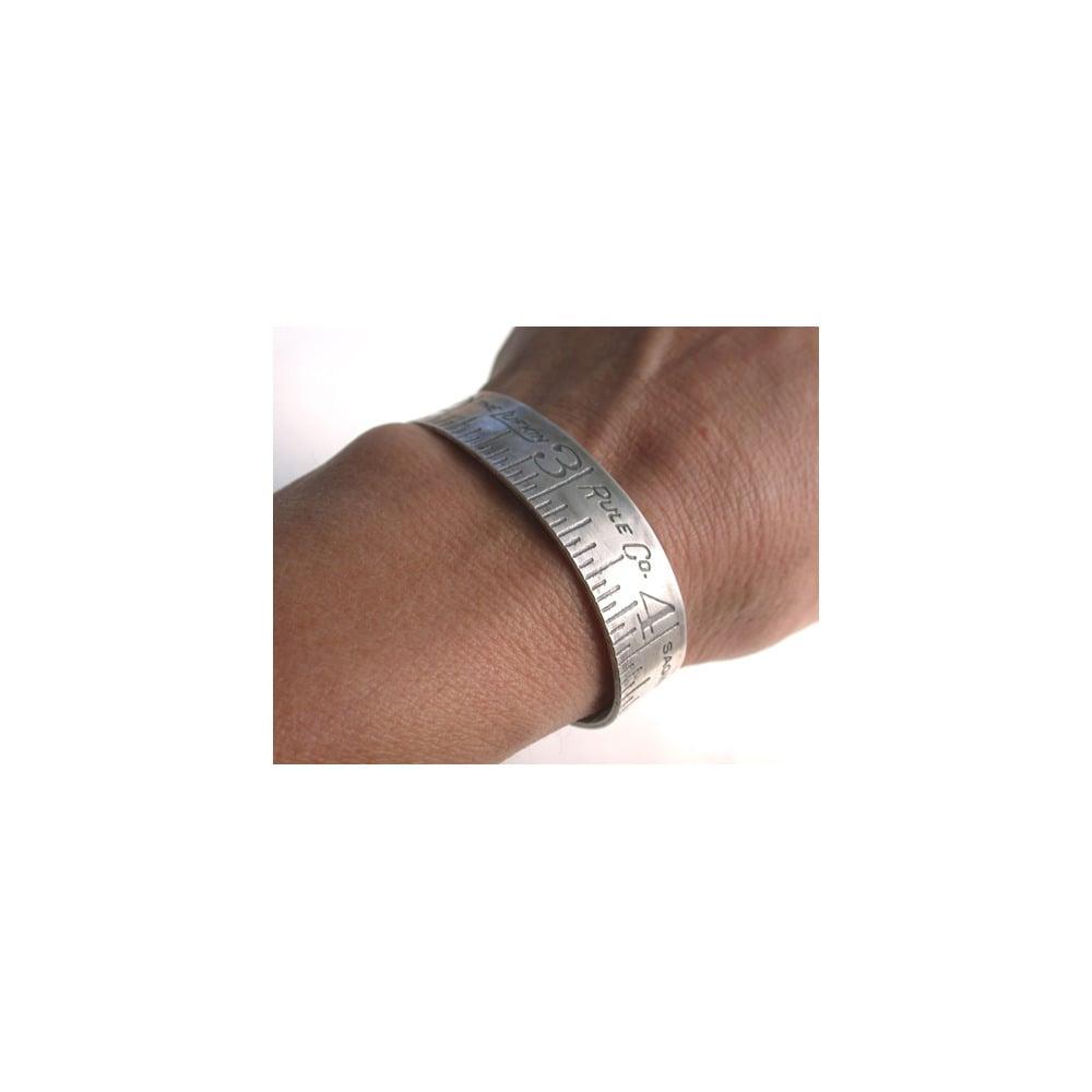 Image of silver ruler cuff bracelet