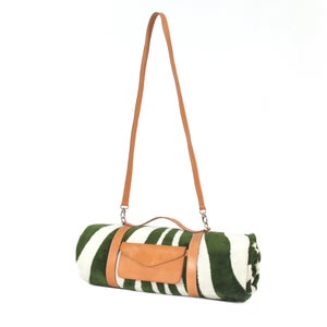 Image of Foliage Green Zebra Hide Beach Towel - Crossbody Strap