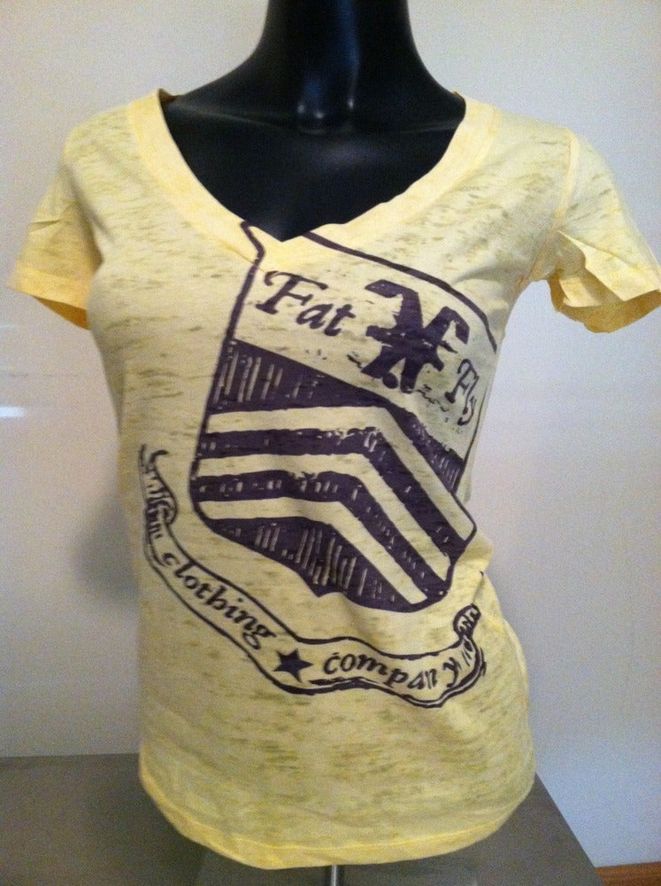 Image of FFWBV - 6540 Burnout Deep V Crest Tee
