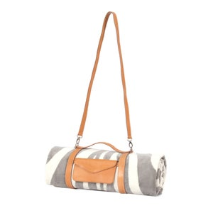 Image of Grey Zebra Hide Beach Towel - Crossbody Strap