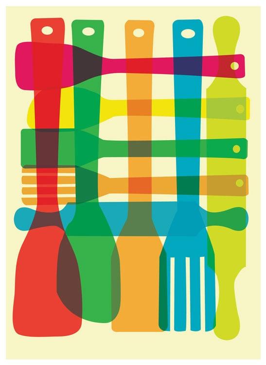 Bowl Utensil Stack 2 Kitchen Art Prints Set