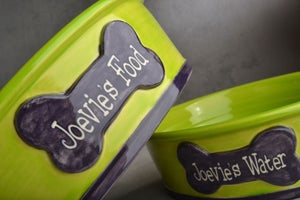 Image of Dog Bowl Set Personalized Smooth Dog Bowls by Symmetrical Pottery
