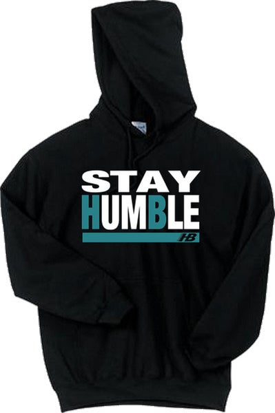 Image of HB- Stay Humble Hoodie (black/ teal)