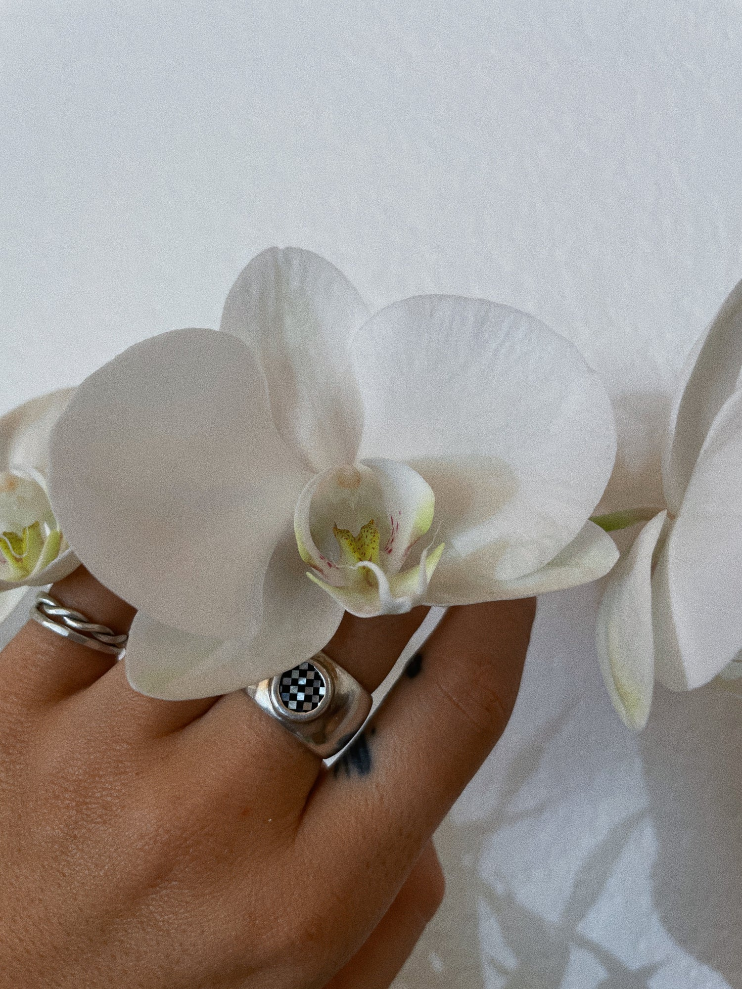 Image of Mother of Pearl + Onyx Bubba Ring