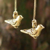 Image of gold robin earrings
