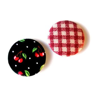 Image of cherry + gingham pin set