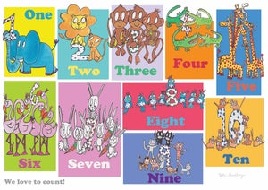 Image of Cute animal counting print