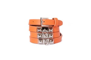Image of Burnt Orange Leather Beltlett with Gold Double Pyramid Studs
