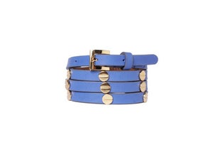 Image of Aqua Blue Leather Beltlett with Gold Screw Studs