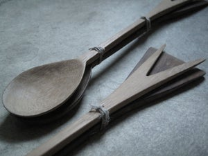 "Image of DOUBLE ENDED HAND CARVED WOOD SALAD SERVERS 12"" (30.5CMS)"