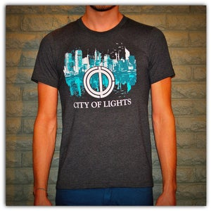 Image of Graphic Tee - Heather Grey w/Turquoise City