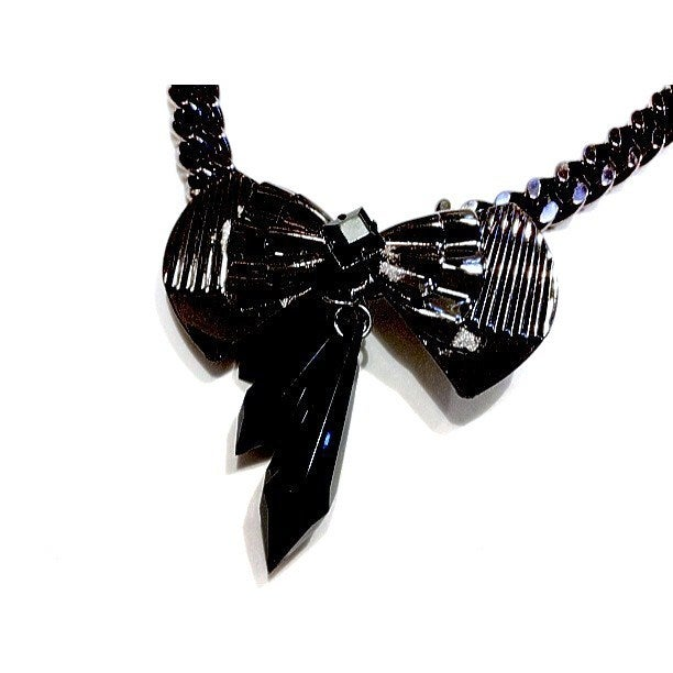 Image of Limited Edition Gunmetal Bow Necklace in the style of Sarah Taylor #Girlfri3nds