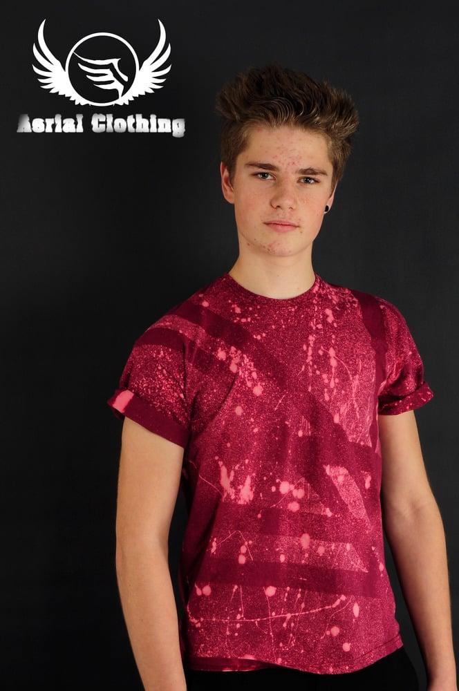 Image of Burgundy Striped T Shirt