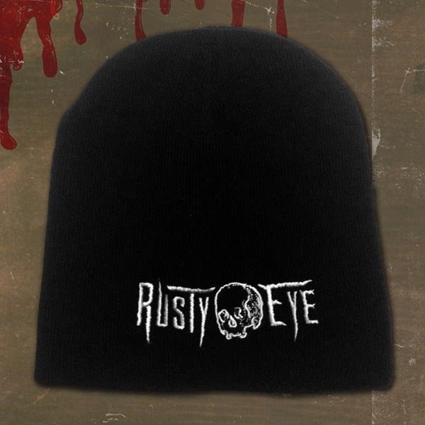 Image of Rusty Eye Embroidered Black Beanie