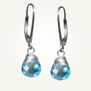 Image of Candy Drop Earrings with Swiss Blue Topaz, Sterling Silver