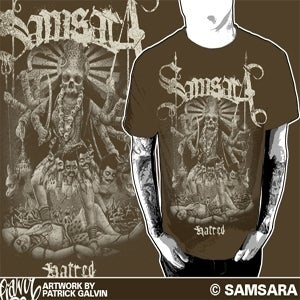 Image of Hatred T Shirt in either black or brown