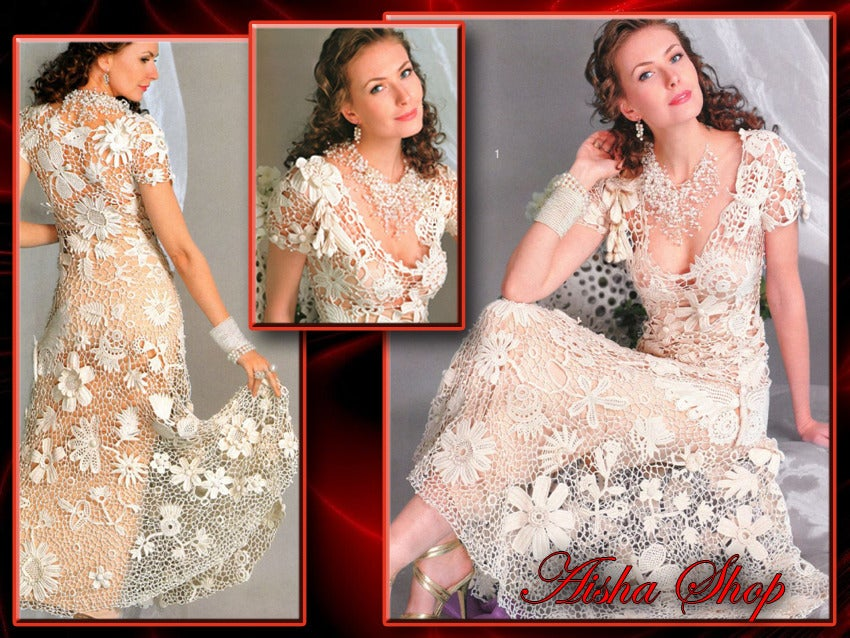 Aisha Shop Crochet Patterns Ebook Irish Lace Dresses Wedding