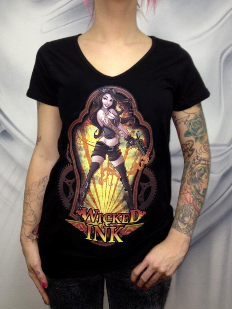 Image of Ladies Black Steampunk T-Shirt