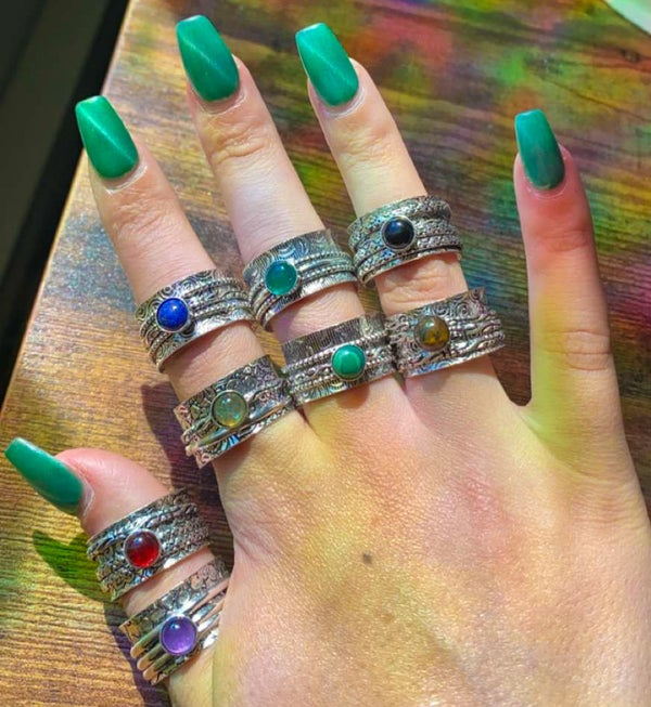 Image of gemstone spinner/fidget rings (around size 9)