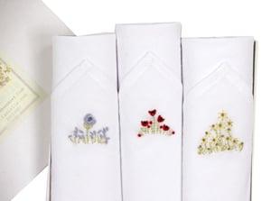 Image of Set of III Ladies Hankies: Embroidered Flowers