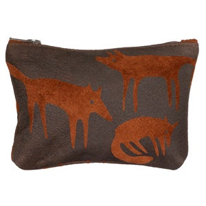 Image of Suede Brown Fox Purse Small